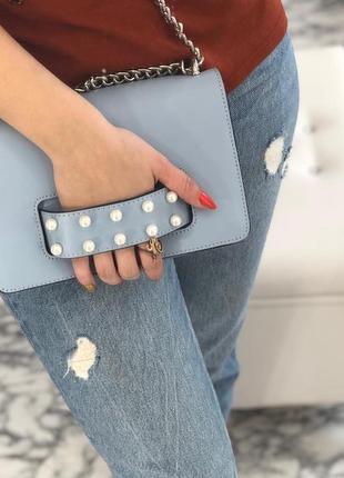 Голубая кожаная сумочка италия