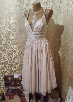 Платье бюстье цвет пудра миди с пайетками на выпускной goloregen 😍😍💃💖