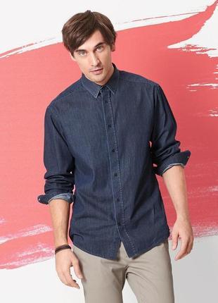 Стильная мужская рубашка под джинс tcm тchibo из высококачественного хлопка.