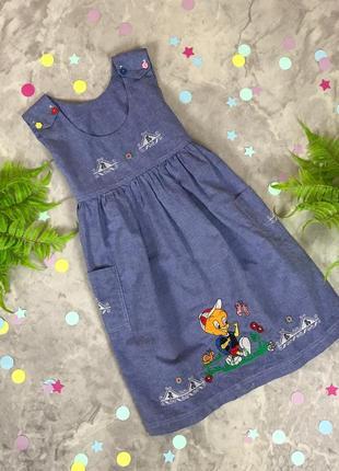 Хлопковое платье с вышивкой для девочки    dr1915135