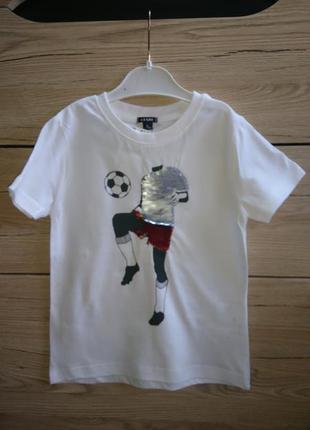 Стильная  и качественная футболка мальчику с  пайетками-перевертышами kiabi ❤️2 фото