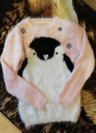 Мягкая кофточка свитер травка с пингвином