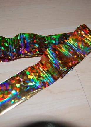 Фольга для дизайна ногтей (4*120 см) для литья золотой ромб4 фото