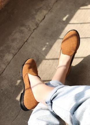 Туфли лоферы из натурального замша, низкий ход, 36-40