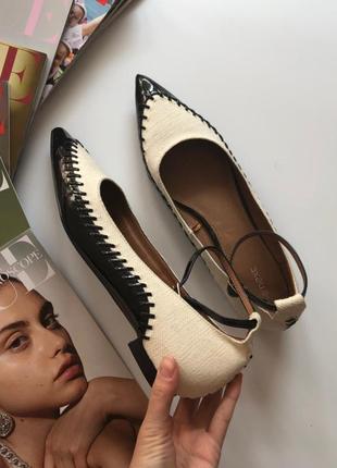 Новые кожаные туфли балетки с острым носочком next pp 42