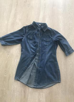 Удлененная джинсовая рубашка f&f