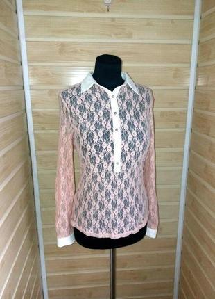 Гипюровая ажурная блузка р.s-m zara