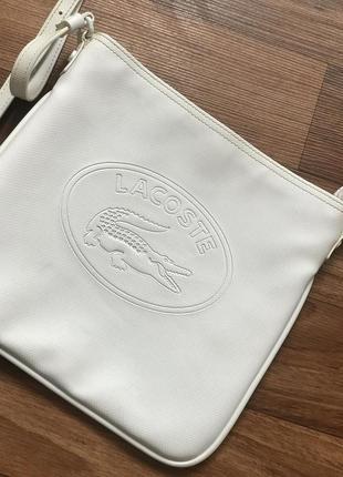 Белая сумка лакоста lacoste2
