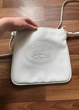 Белая сумка лакоста lacoste3