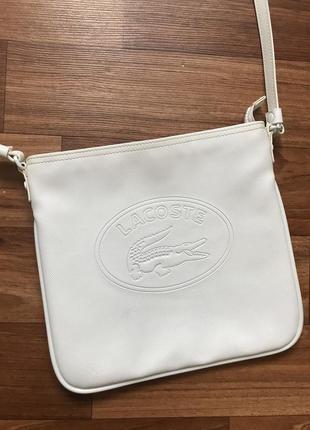 Белая сумка лакоста lacoste5 фото