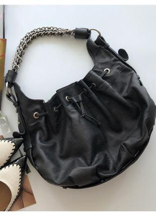 Кожаная сумка мешок zara  кожа