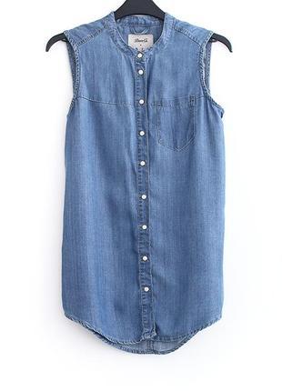 Джинсовая рубашка-безрукавка denim co  • р-р xs (6\34) – примерно на грудь до 83 см