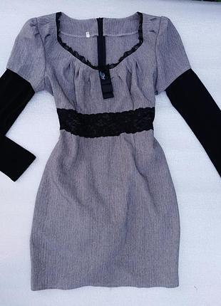Платье кружево атлас нарядное деловое футляр облегающие s m l с поясом