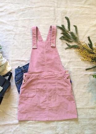 Розовый вельветовый сарафан платье