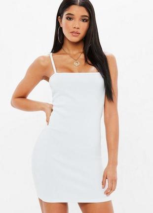 Z111 стильное платье в плотный рубчик на бретелях missguided ms735