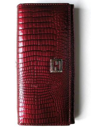 Большой кожаный лаковый кошелек bordo, 100% натуральная кожа, есть доставка бесплатно