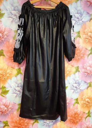 Шикарное кожаное платье / из эко кожи с поясом3 фото