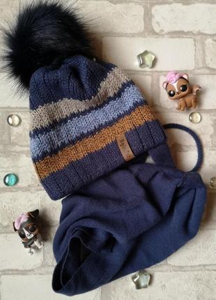Детский комплект - вязаная шапка с помпоном и шарф, agbo (польша), 48-50