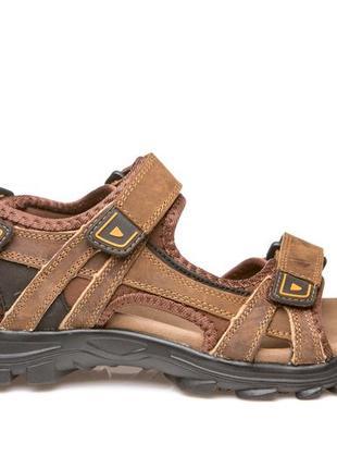 Босоножки сандалии мужские кожаные спортивные на липучках restime  nml19113 l.brown