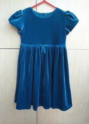 Велюровое платье m&s на 5-6 лет