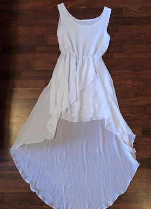 Шикарное белое шифоновое платье 👗