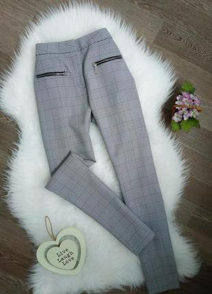 Красивые серые брюки/чинос в клетку select
