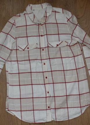 Светлая рубашка в клетку h&m 36-38р.2 фото