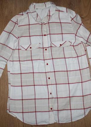 Светлая рубашка в клетку h&m 36-38р.5 фото