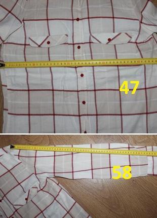 Светлая рубашка в клетку h&m 36-38р.3 фото