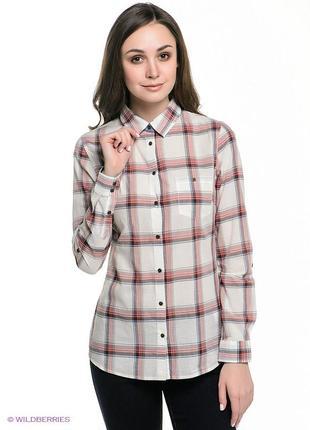 Светлая рубашка в клетку h&m 36-38р.7 фото