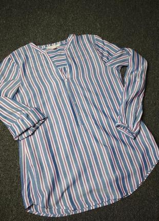 Стильная полосатая блуза рубашка, вискоза, esprit, p. 6-10