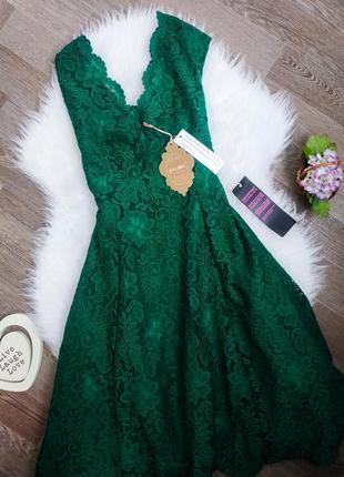Шикарное изумрудное коктельное кружевное платье миди ажурное joli moi