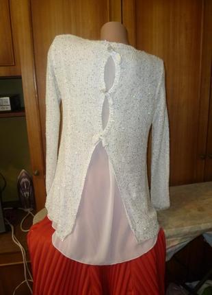 Нарядный просвечивающийся блестящий свитер-туника с шифовой спинкой весна-осень
