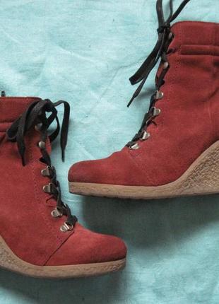 Buffalo london (40) замшевые ботинки женские на танкетке