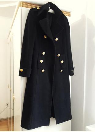 44 р длинное двубортное пальто милитари шерстяное прямое длинное