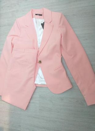 Распродажа! мегакачественный брючный нежнорозовый костюм пастельного оттенка1