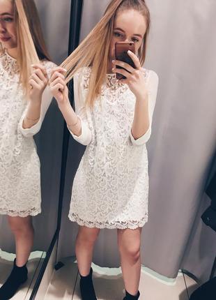 Шикарное новое белое вечернее кружевное платье s,m размер