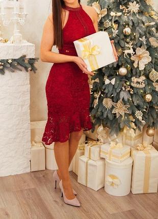 Платье на выпускной кружевное платье миди с воланом платье в обтяжку