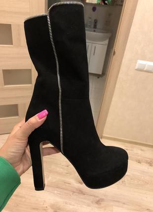 Сапожки ботинки замшевые