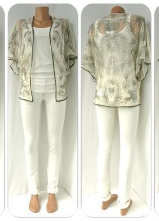 Новая шикарная накидка, кимоно topshop с вышивкой. размер uk6/eur34.