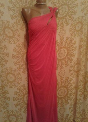 Ярко-розовое шифоновое платье, м -l4 фото