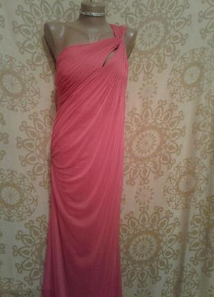 Ярко-розовое шифоновое платье, м -l2 фото