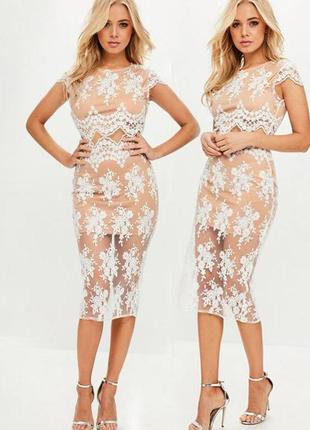 Комплект missguided ажурный кржевной юбка + топ с сайта asos
