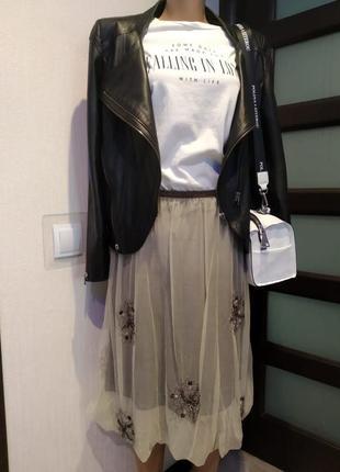 Брэндовая юбка карандаш фатин пышная с вышивкой