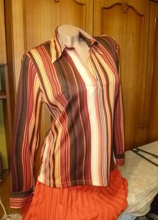 Фирменная удобная полосатая рубашка-кофточка-блуза трикотажная с длинным рукавом
