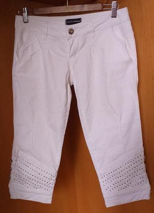 Dolce & gabbana оригинал белоснежные нарядные коттоновые бриджы со стразами