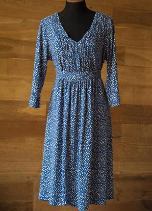 Красивейшее голубое платье с принтом миди per una, размер 3xl