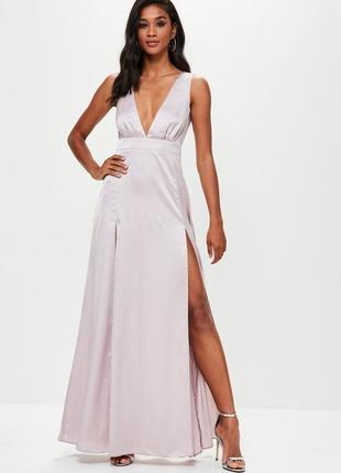 Сатиновое вечернее макси платье
