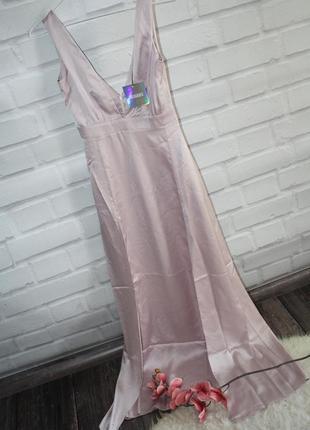 Сатиновое вечернее макси платье2 фото