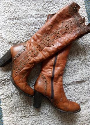 Коричневые теплые мех итальянские кожаные зимние сапоги